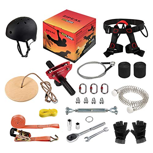 ZIPEAK Zipline for Kids and Adult, Zipline Kits for Backyard with Spring Brake, Cable Tensioning Kit, 2 Tree Protectors, Wooden Seat and Full Set of Zip line Accessories(Without Main Cable) (Red)