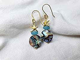 Perlmutt, Quarz vergoldete Silber Seestern Ohrringe*Meereslust Kollektion*Naturschmuck*Boho*Heilstein