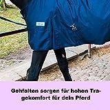 Regendecke mit Kreuzgurt für Pferde, Ponys Weidedecke – Ganzjahres Decke für Outdoor, wasserdicht, 125 cm - 175 cm (Blau, 145 cm)