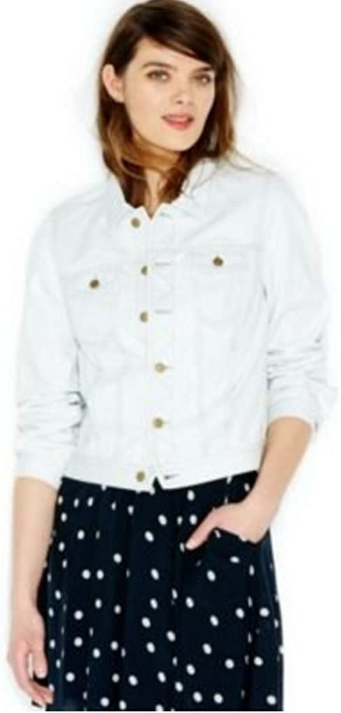 Maison Jules Women's Point-Collar Jean Jacket, Large, Bleached Denim Wash