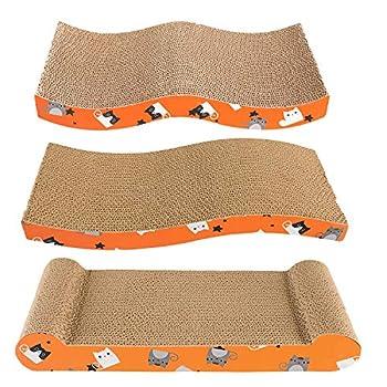 Frondent Grattoir Chat Carton, Trois modèles différents de grattoirs pour Chat Conseil Recyclable Tapis à gratter pour Chat avec canapé-lit en Herbe à Chat pour Chats