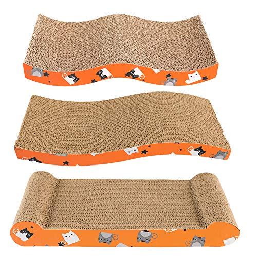 Frondent Rascador para Gatos de Cartón, Tres diseños Diferentes de rascadores para Gatos, Tabla reciclable, Alfombrilla para rascar Gatos con Hierba gatera, sofá de Juguete para Gatos, (Paquete de 3)