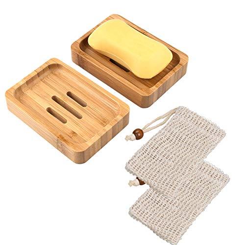 Queta Seifendose, Holz Seifenschalen Box mit Seifensäckchen Sisal Handarbeit Seifenhalter für Badezimmer Reise (Burlywood)