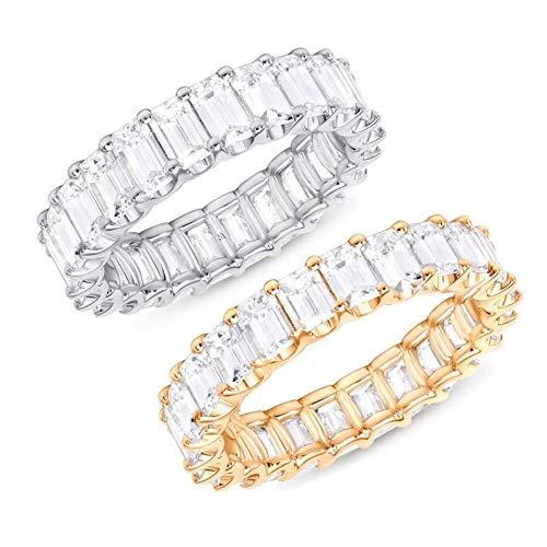 Damen-Ring Swarovski Zirkonia Sterling-Silber, Zirkonia Versprechen Verlobungsring, Damen Ring Breit Silber Zirkonia (Silber, 56 (17.8))