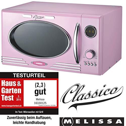 Melissa 16330125 Retro Mikrowelle/900 Watt/25 Liter Garraum/Design Mikrowelle mit Grill/Rosa Pink
