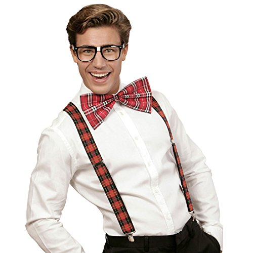 Amakando Vestimenta empolln Set Disfraz Friki a Cuadros Atuendo Geek Disfraz de Nerd Tirantes Pajarita Gafas Cuadros Escoceses Outfit hortera Bad Taste
