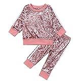 1 – 6 anni di felpa in velluto + pantaloni alla moda sport tuta abbigliamento rosa 3-4 Anni