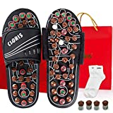Massage Slippers Sandals Shoes with Jade Stones and Tourmalines, CLORIS Reflexology Acupressure Foot Massager, Foot Care Shoes with a Pair of Sock for Men Women