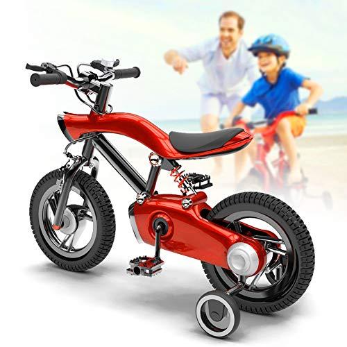 NEWPIN LED verlichting Kinderfiets Meisje fiets met schokdemper veer, zadel en stuur hoogte verstelbaar, Gesloten kettingkast, 2 remmen, anti-slip pedaal, steunwielen