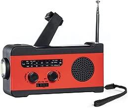 BanriWowi Solar Emergency Hand Crank Radio, self-Powered Weather Radio, AM/FM/WB with Super-Bright Flashlight, 2000mah Smartphone Charger Portable Radio(Red)