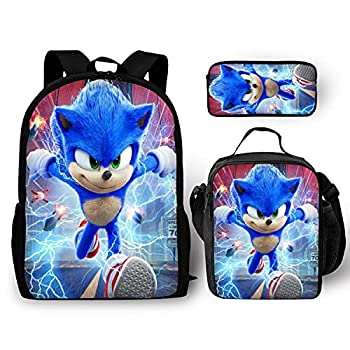 Kids Fashion Backpack With Lunch Bag Pencil Case Student Bookbag ShcoolBag for Boys Girls