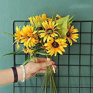 Artificial Flowers Beautiful Artificial Silk Sunflower Bouquet Summer Wedding Home Decorations Table Arrangements Fake Flowers for Living Room Wedding Bouquets (Color : Yellow)