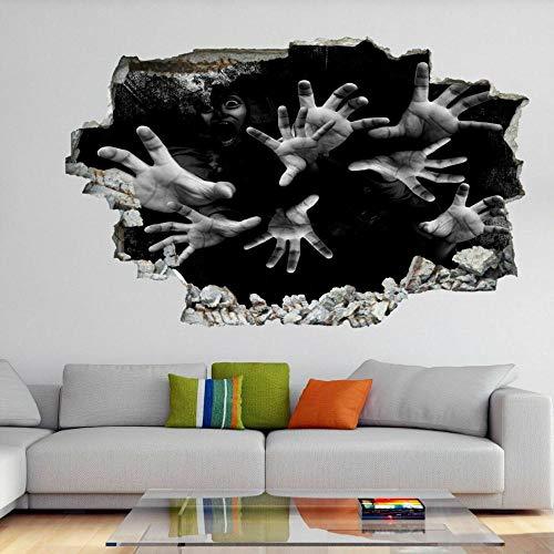 Pegatinas de pared Scary Hands Halloween 3D Wall Art Sticker Mural Calcomanía Horror Fondo GH6-70x100cm