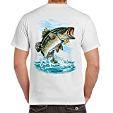 Adult 100% Cotton Supersoft Bass Fishing T Shirt Medium White