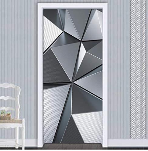 Fototapete Selbstklebend Türposter Geometrische Nachahmung Metall Textur 3D Türtapete Türfolie Poster Tapete 80X200Cm