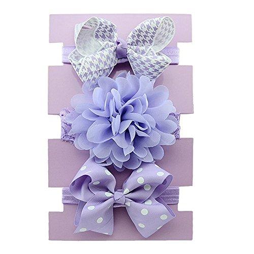Vococal Bébé Élastique Fleur Multicolore Bande de Cheveux Violet 1#