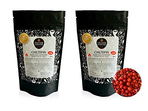 Chiltepin Chili, wild gesammelt, getrocknet - FeuerStreuer Pur - Zip-Beutel mit Aromaschutz - 2x 30g - Das ideale Geschenk für Chili-Fans