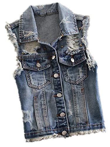 Jeansweste Damen Casual Fashion Zerrissen Ärmellos Jeansjacken Elegante Casual Vest Vintage Distressed Denim Jacken Mädchen Mäntel Frühling Sommer (Color : Blau3003, Size : M)