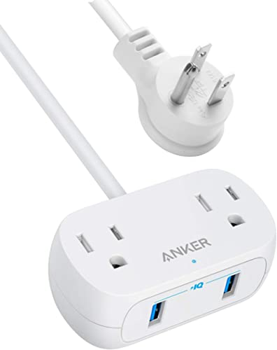 Anker Power Strip with USB PowerExtend USB 2 mini, 2 Outlets, and 2 USB Ports, Flat Plug, 5 ft Extension Cord, Safety...