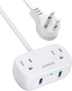 Anker Power Strip with USB PowerExtend USB 2 mini, 2 Outlets, and 2 USB Ports, Flat Plug, 5 ft Extension Cord, Safety Syst...