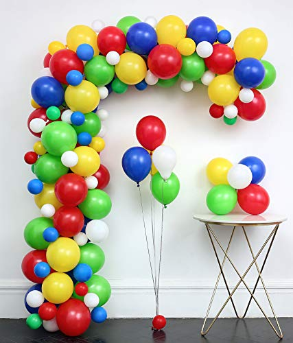 Carnival Circus balloons Arch 127pcs Arch Garland (Dark Blue .Red.Green.Yellow.White.)Tying Tools+Decorating Strip+points stickers+Flower Clips+Ribbon Shower Wedding Birthday Graduation Anniversary Party Background Decorations
