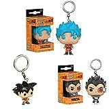 LUGJ Funko Pop Llavero 3Pcs / Dragon Ball Kawaii Q Versión Anime Figura Vegeta / Goku Figuras De Acc...