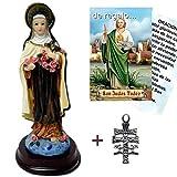 Figura Santa Teresa del Niño Jesus 15 cms. Pintada a Mano. De Regalo una Cruz de Caravaca y estampas...