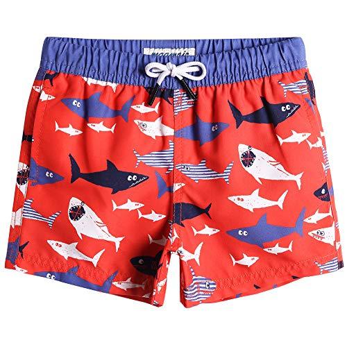 MaaMgic Costume da Bagno Pantaloncini da Bagno Estivi per Ragazzini Bambini Foderate in Rete Asciugatura Rapida Multi Colori, Rosso squalo, 3-4 Anni