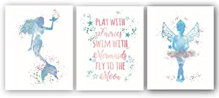 """Abstract Mermaid Art Print Set of 3 (10""""X8""""Fairy Art Painting Watercolor-Style Little Adorable Girl Inspirational Typography Picture for Kids Girl Bedroom Nursery Home Decor,No Frame"""