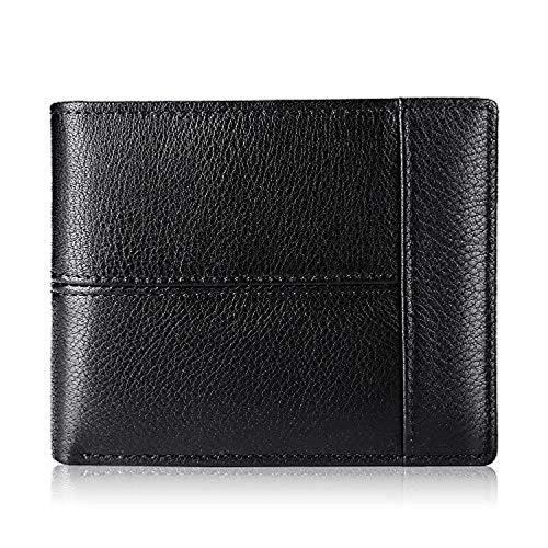 Herren-Geldbörse, RFID-Echtleder, schmal, mit Sichtfenster, 16 Kartenhalter, Geschenkbox
