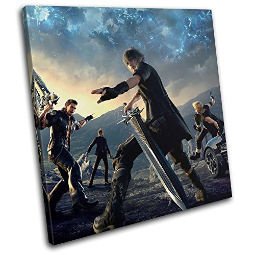Bold Bloc Design - Final Fantasy XV Xbox ONE PS4 PC Gaming 40x40cm Single Canvas Art Print Box Framed Picture Wall Hanging - Hand Made in The UK - Framed and Ready to Hang