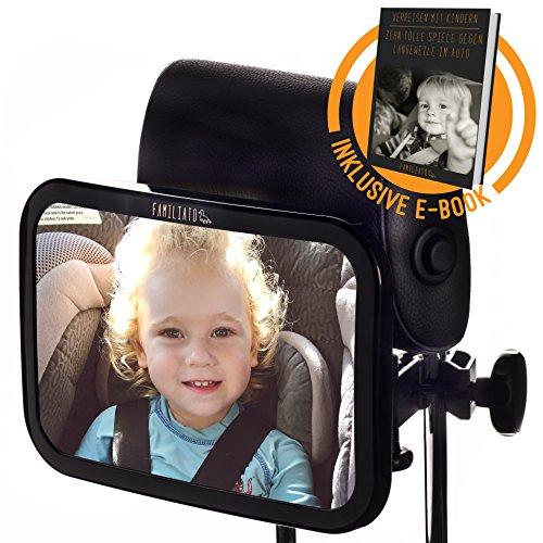 DEIN KINDERSPIEGEL zum Einführungspreis - Der stabile Rücksitzspiegel fürs Auto mit innovativer Klemmhalterung und großer Spiegelfläche aus Acrylglas - inkl. kostenlosem E-Book - designed in GERMANY