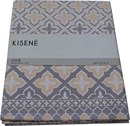 KISENE' Tovaglia da Tavola in Cotone e Poliestere Adatta per Tavolo Quadrato o Rettangolare (Disegno Santorini - Beige, 140_x_180_cm)