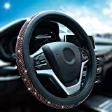 Alusbell Bling Bling Rhinestones Steering Wheel Cover for Women Diamand Crystal Steering Wheel Cover with PU Leather Universal Fit 15 Inch Wine Red