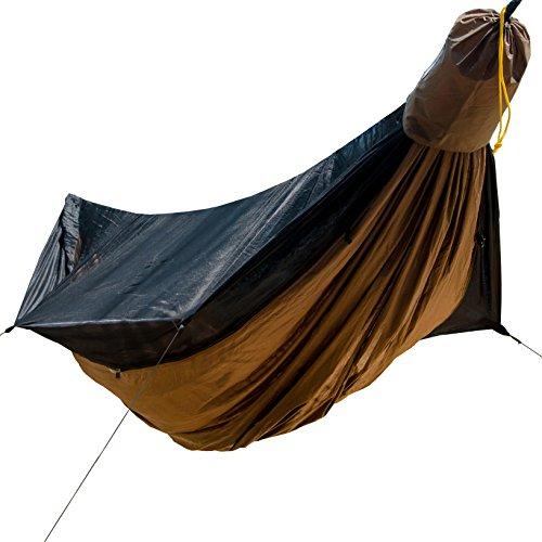 Go Outfitters Go Camping Hammock 2.0 w/ Built-In Mosquito Net, Coyote Brown 11' Long X 64' Wide | Includes 2 Premium Aluminum Carabiners, Rapid Deployment Bag, 4 Stakes and 4 Shock Cords