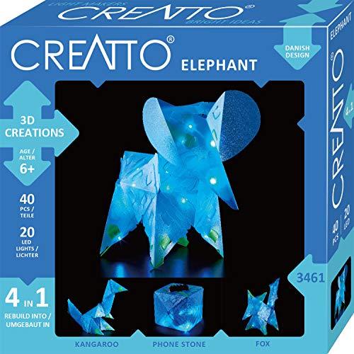 KOSMOS 03461 Creatto Elefant 3D-Leuchtfiguren entwerfen Bastel Set für Elefant, Fuchs, Känguru oder Handystation, gestalte deine Kinderzimmer-Deko, 40 Steckteile, 20-tlg LED-Lichterkette, ab 6 Jahre