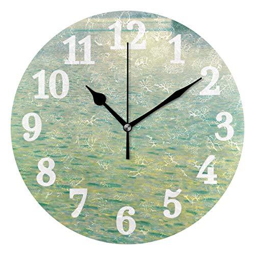 Ahomy Stille runde Wanduhr See-Attersee Gustav Klimt Home Art Decor 25,4 cm Uhr für Wohnzimmer, Schlafzimmer und Küche