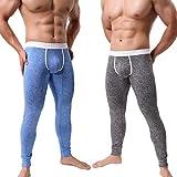KAMUON Men's Low Rise Pouch Underwear Pants Long Johns Thermal Bottoms Leggings (US L = Asian Tag XL : Waist 34'-36', 2 Pack-Black/Blue #2)