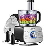 Decen 12-cup Food Processor & Vegetable Chopper, Powerful 3 speed Multifunctional Food Processor for Slicing, Shredding, Mincing, and Puree, 600W Motor, Easy to Clean, BPA Free, Sliver