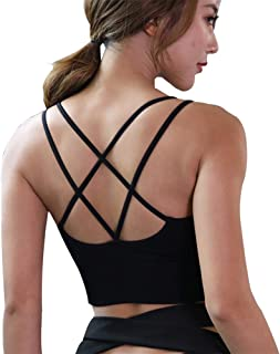 Cross Back Strappy Sports Bra Padded Wirefree Yoga Workout Bras