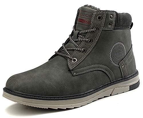 Gaatpot Uomo Neve Stivali Inverno Stivaletti da Escursionismo Scarpe da Trekking Caldo Cotone Scarpe Piatto Sportive Boots Grigio 41 EU