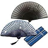 Zasiene Abanico Plegable de Mano Ventilador de Mano Abanicos Bambú y Seda Ventilador Mano Plegable Ventilador con Borla y Caja de Regalo para Fiesta Ceremonias Regalos Decoración Boda