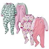 Gerber Baby Girls' 4-Pack Blanket Sleeper, Pink Floral and Love, 3-6 Months