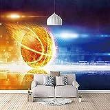 Djskhf 壁画サッカーボールファイヤーブルーカスタム3D Hd壁紙家の装飾塗料ノスタルジックなパネル写真家の芸術のリビングルームの寝室のキッチン 400X280Cm
