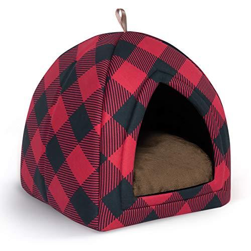 Bedsure Cama Gato Cueva Navidad Suave - Casa Gato Mediano Lavable con Cojín Desenfundable y Extraíble, Camas para Perros...
