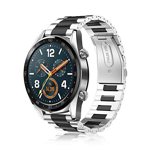 FINTIE Correa Compatible con Huawei Watch GT 2/Huawei Watch GT 46mm Sport/Classic/Active/Elite - Pulsera de Repuesto de Acero Inoxidable Banda Ajustable de Metal, Plateado+Negro