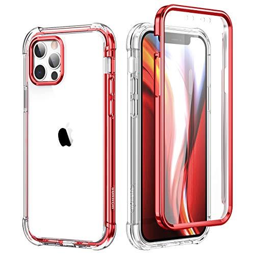 SURITCH Funda iPhone 12 Pro MAX 6,7' 360 Grados Transparente y Protector Antigolpes [Ultra Hybrid] PC Dura Resistente + TPU Silicona Rojo Bumper, Doble Cara Carcasa