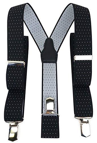 TigerTie Unisex Hosenträger in Y-Form mit 3 extra starken Clips - Farbe in schwarz silber gepunktet - hochwertige Verarbeitung - Breite 35 mm