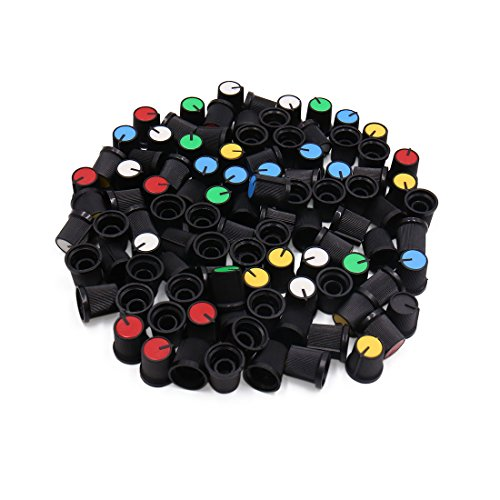 uxcell 100pcs Multicolor Plastic Automobile Car Audio Radio Potentiometer Control Knob