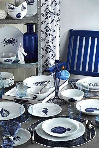 Marine Nautical - Vajilla de porcelana de 24 piezas, fabricado en Turquía, servicio para 6, temática de peces